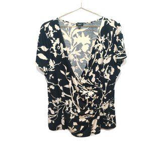 Talbots Black Floral V-Neck Faux Wrap Top Size 1XP